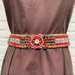 Free People Boho beaded tie belt with shells